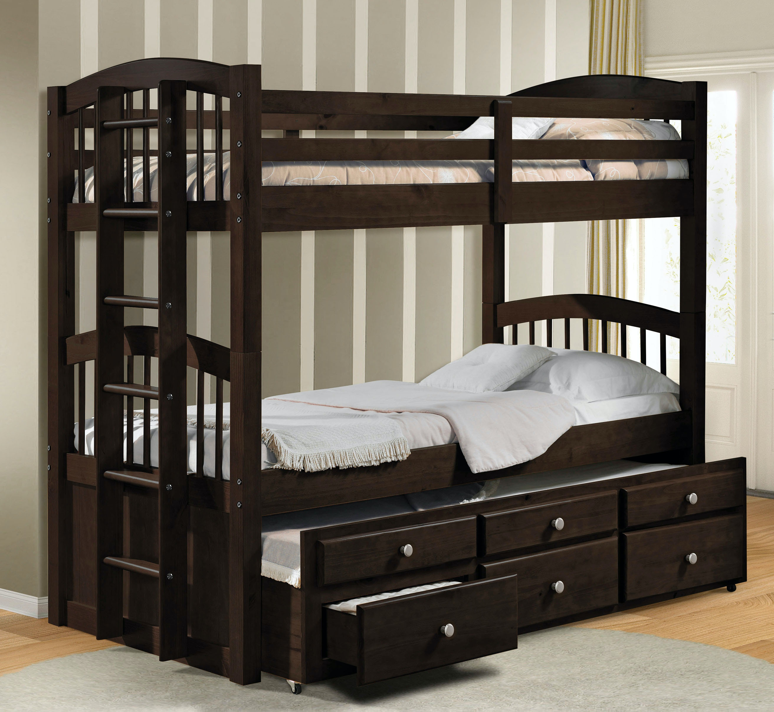 Acme Furniture Youth Twin Over Twin Bunk Bed Trundle With 3