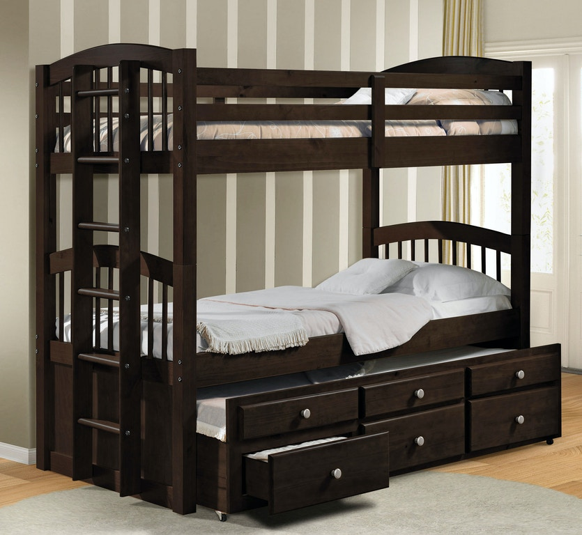 Twin Over Bunk Bed Trundle With 3 Drawers