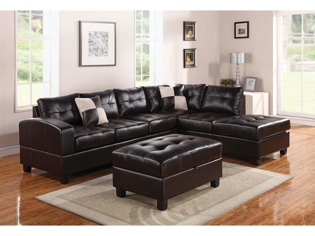 Acme furniture living room kiva sectional sofa with 2 for Sectional sofas duluth mn