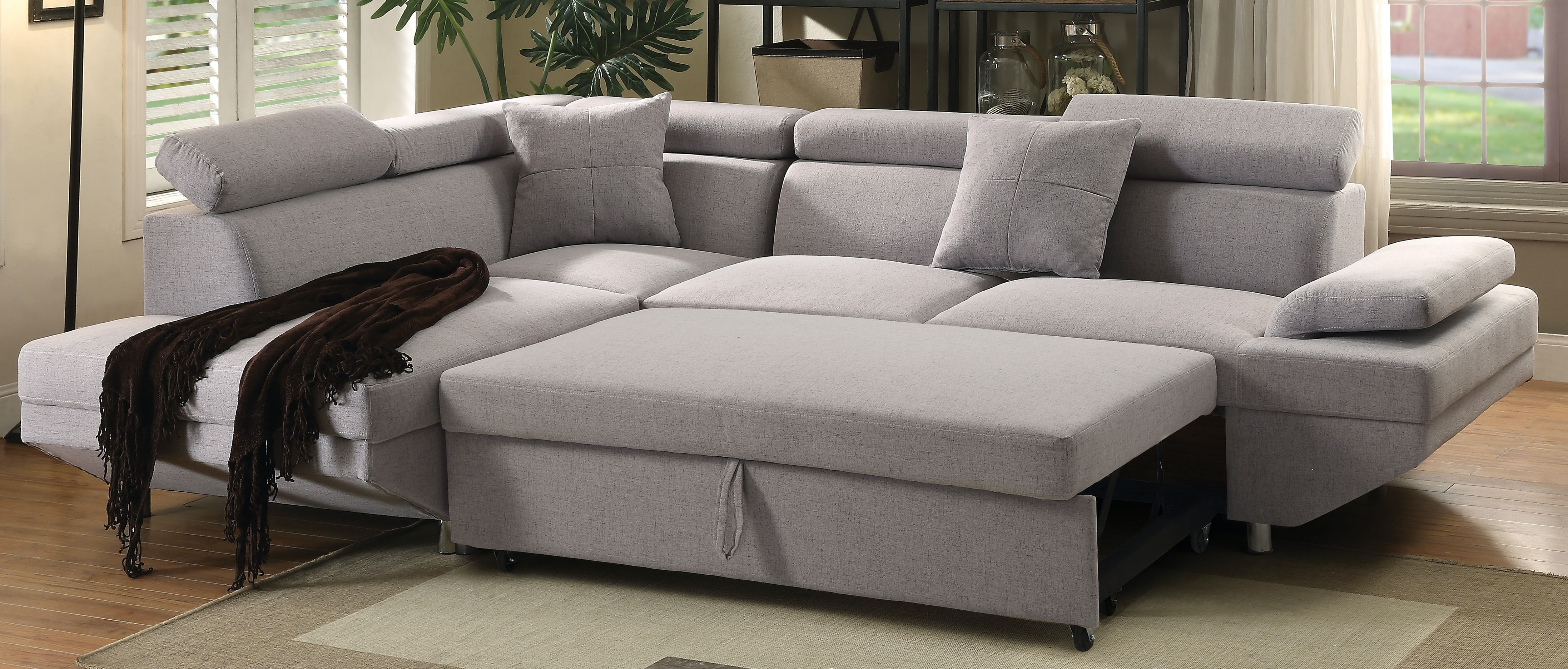 Acme Furniture Living Room Jemima Sectional Sofa with Sleeper