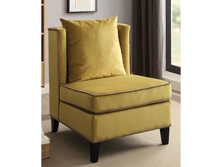 Acme Furniture Living Room Chartreuse Yellow Accent Chair 59570 At The Mall