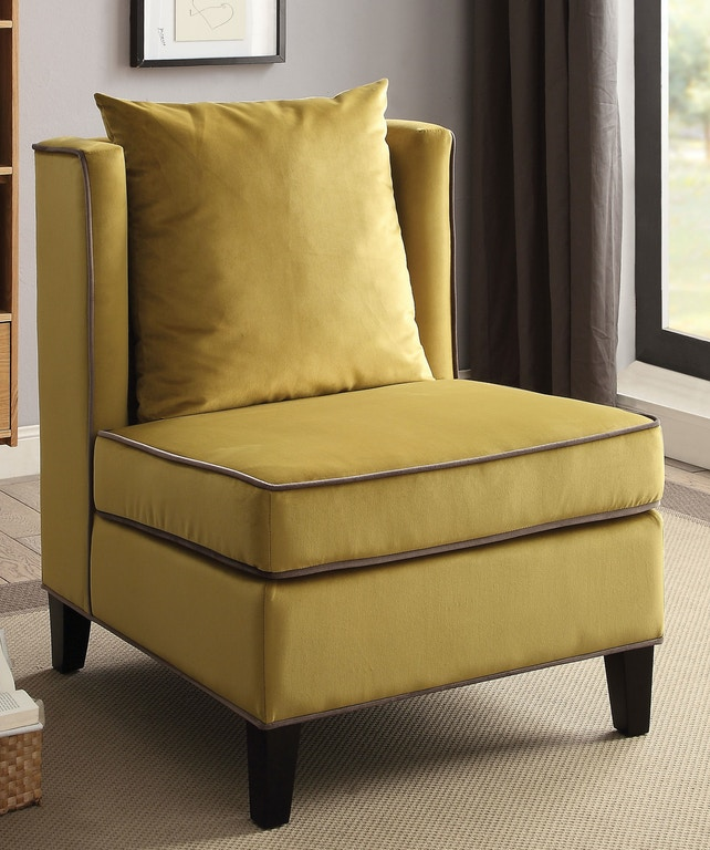 Acme Furniture Living Room Chartreuse Yellow Accent Chair