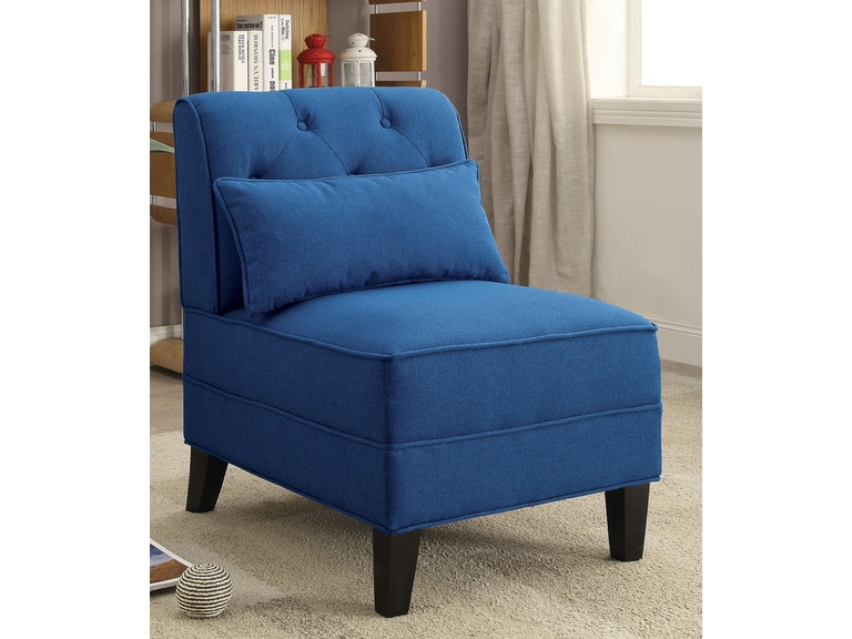 Blue Accent Chair with Pillow
