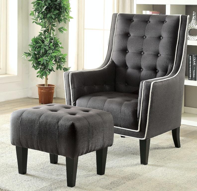 Acme Furniture Living Room Black 2 Piece Chair Ottoman 59634