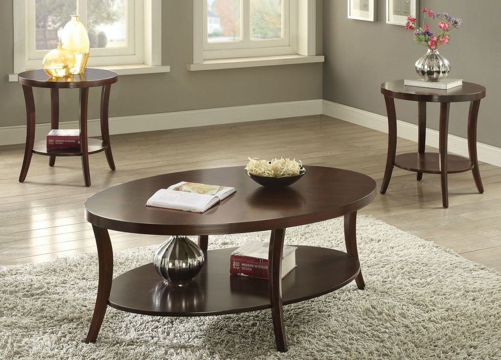 Acme Furniture Living Room 3 Piece Coffee And End Table