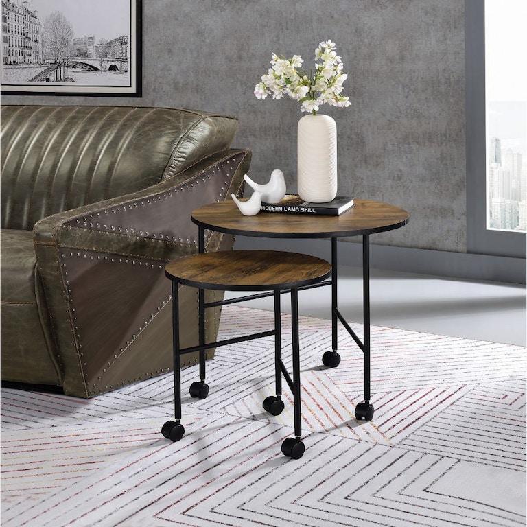 Acme Furniture Living Room Oblis 2pc Pk Nesting Tables 83150 White Glove Furniture East