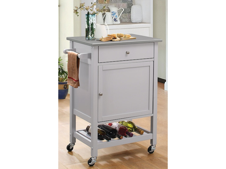 Kitchen Cart W/Stainless Top