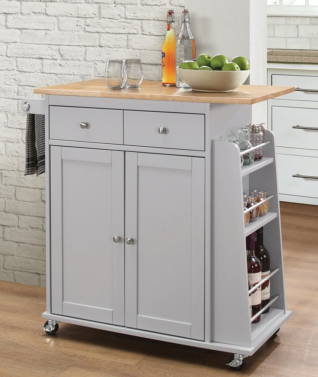 Kitchen Cart W Wood Top