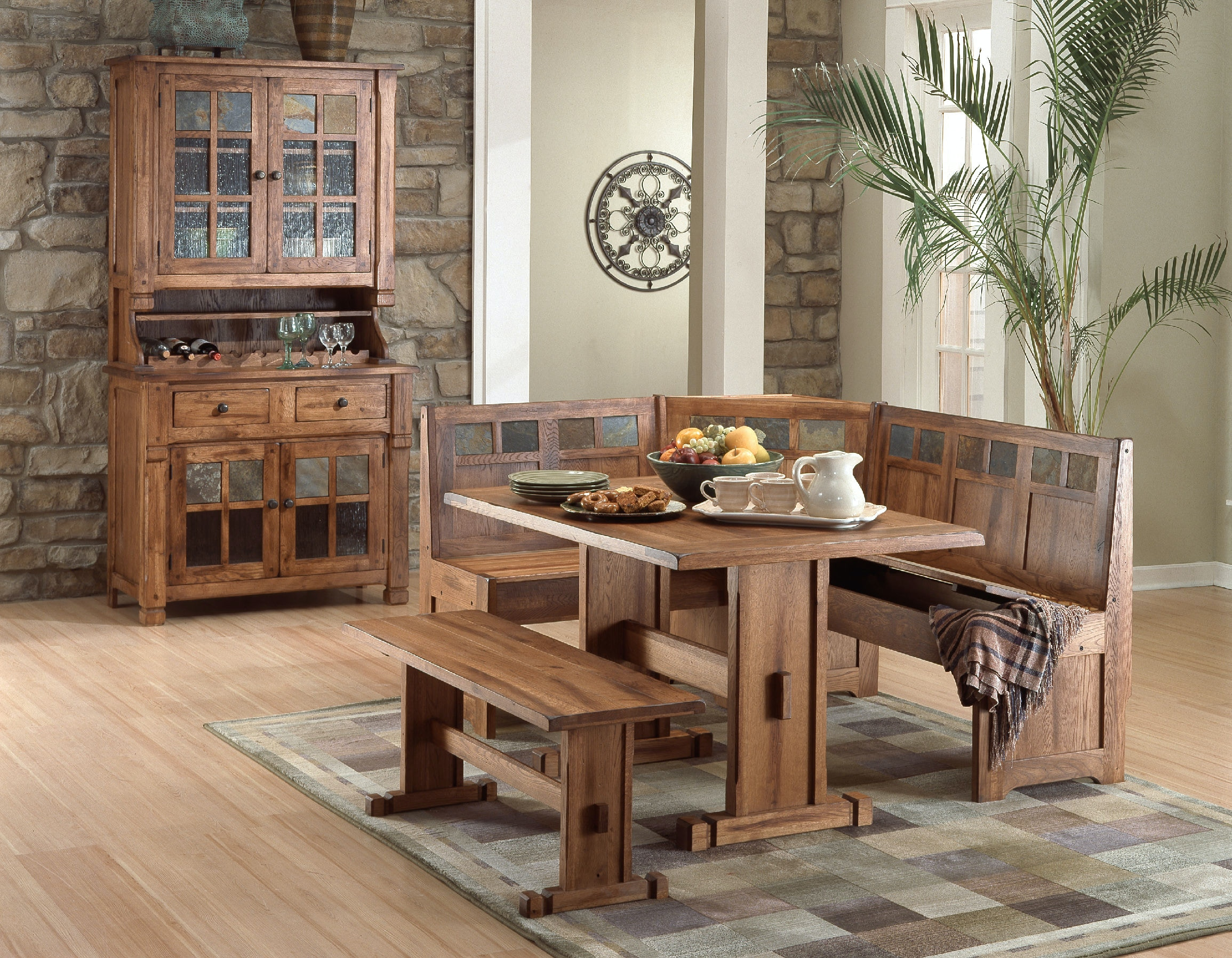Sunny Designs Dining Room Sedona Breakfast Nook Set With Side Bench 0219RO  At Simply Discount Furniture