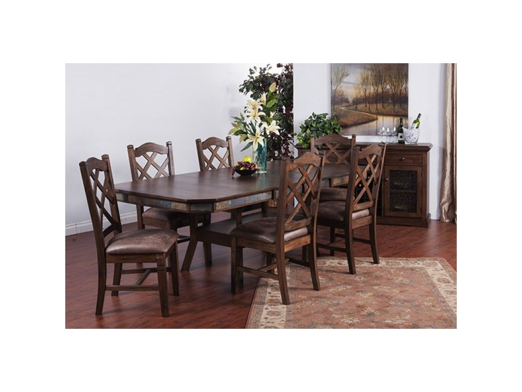 Sunny designs dining room table top double butterfly for Dining room table top designs