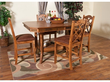 Sunny Designs Dining Room Sedona Adj Height Table With Double Butterfly Leaf