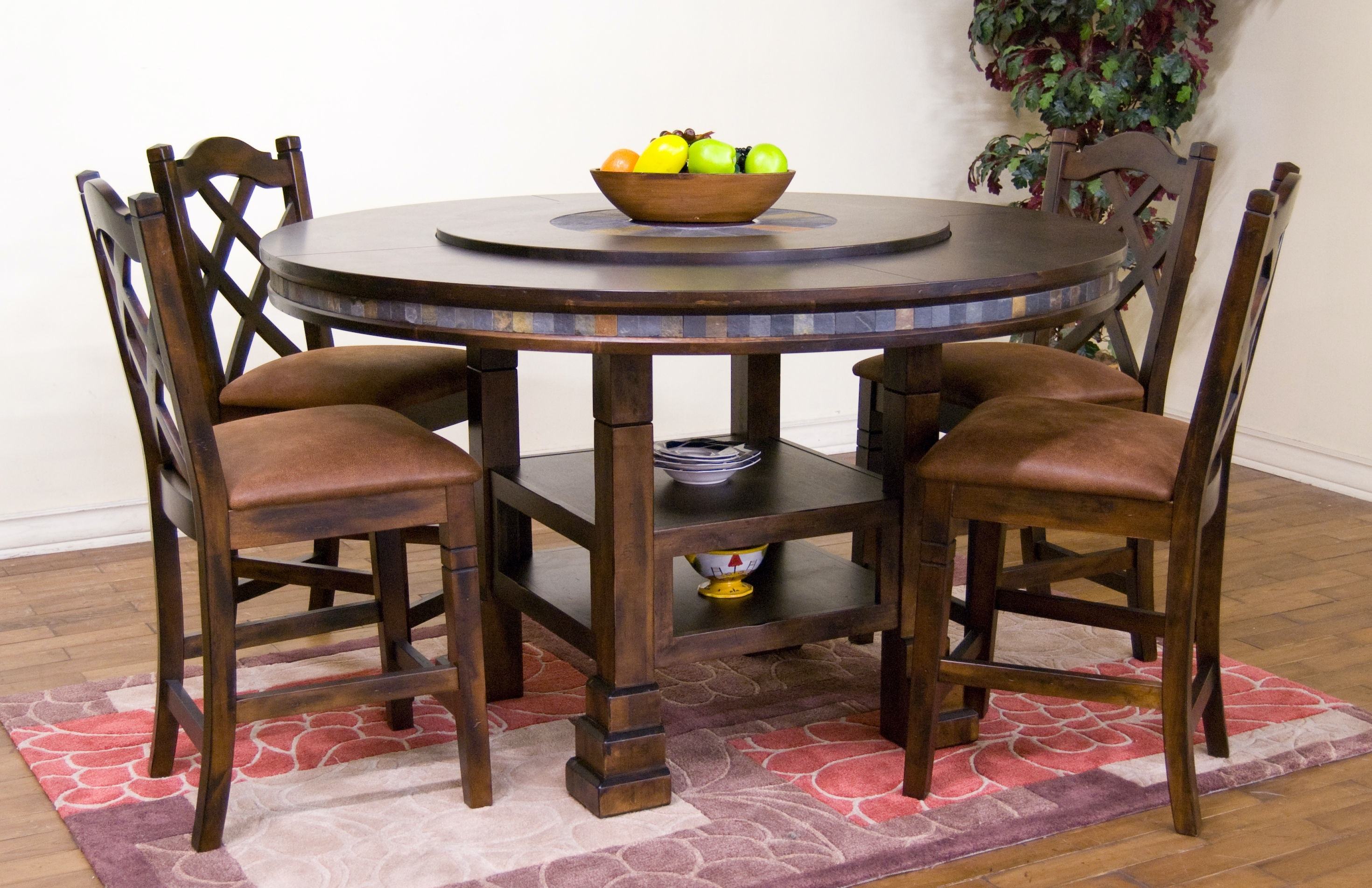 Sunny Designs Santa Fe Round Table With Lazy Susan Dc