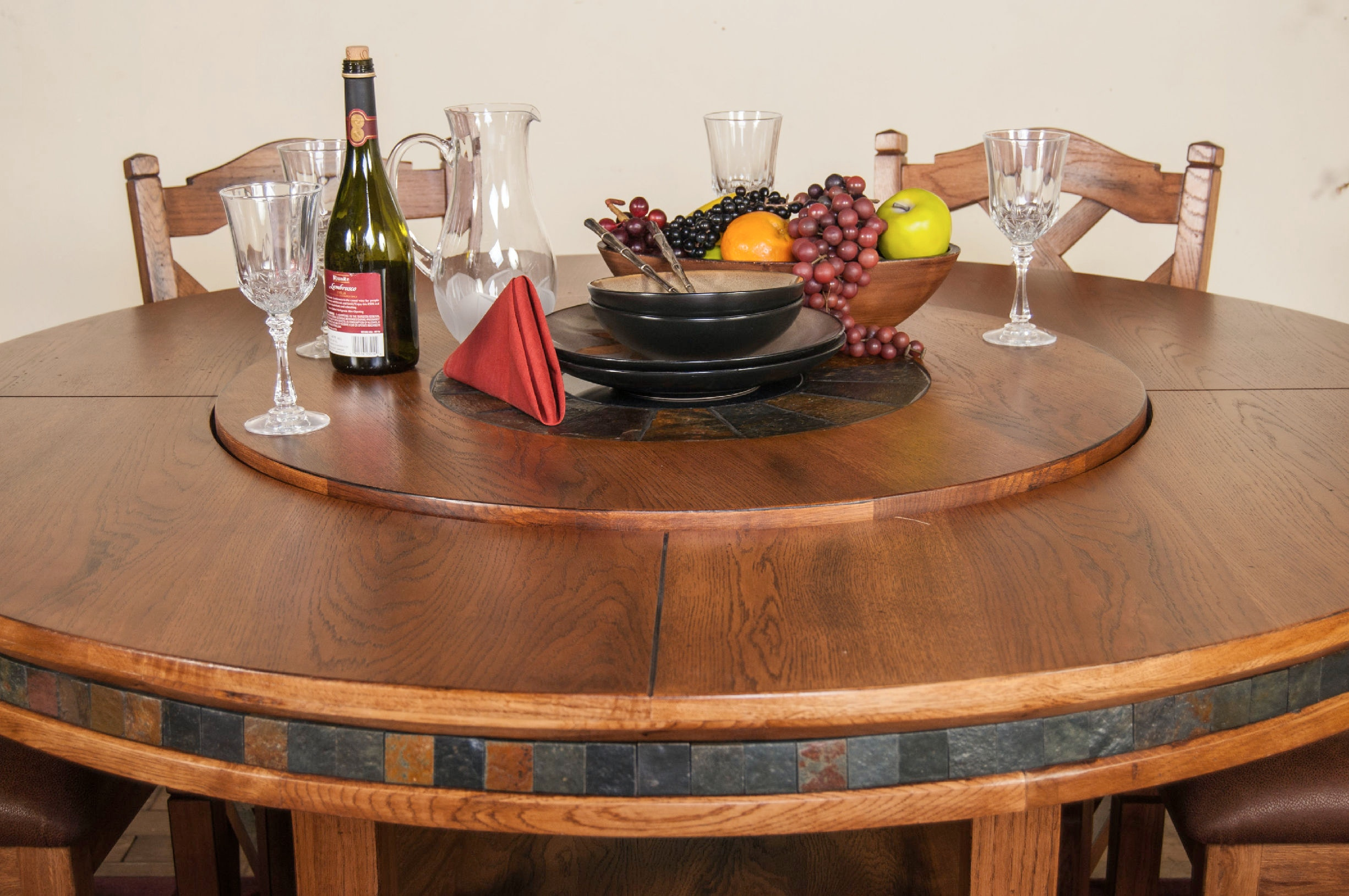 ... Sunny Designs Sedona Round Table With Lazy Susan 1225RO