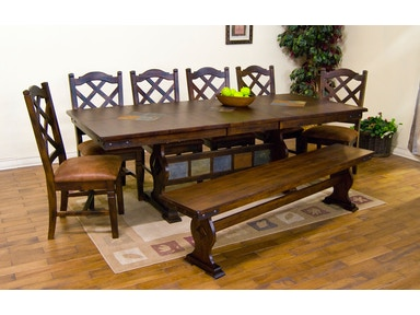Sunny Designs Santa Fe Trestle Table With Slate 1235DC