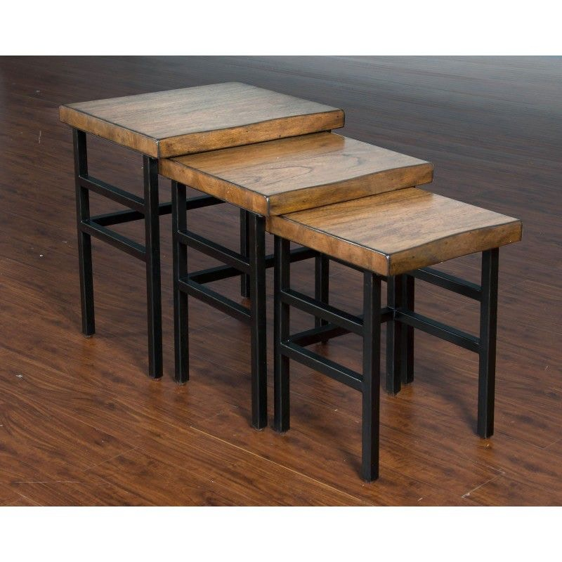 Sunny Designs Live Edge 3pc Nesting Table Set 2002NM