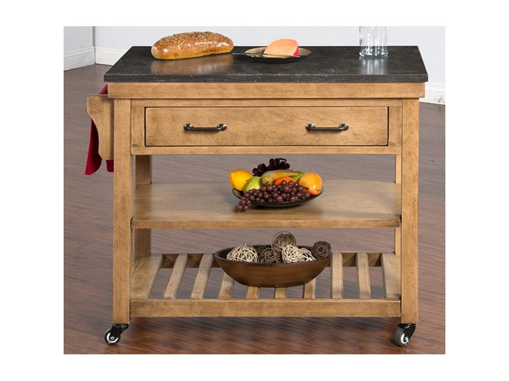 Sunny Designs Blue Moon Kitchen Island Table With Bluestone Top 2178ds Simply Discount