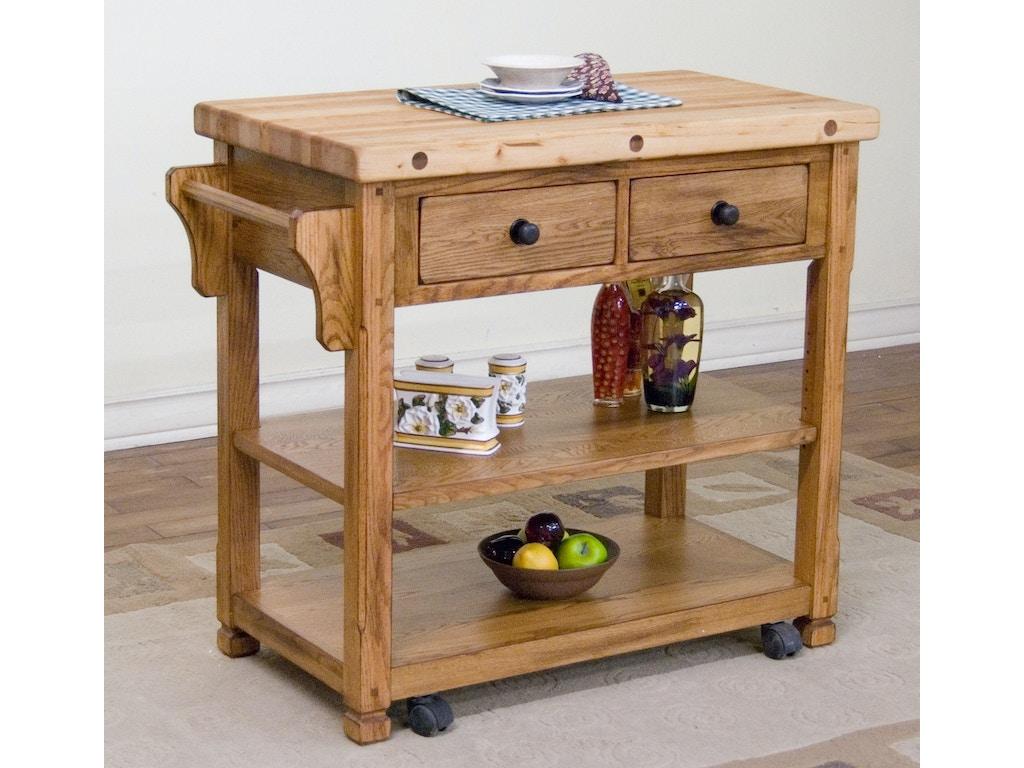 Sunny Designs Kitchen Sedona Butcher Block Cart 2178ro Bennington Furniture Bennington Vt