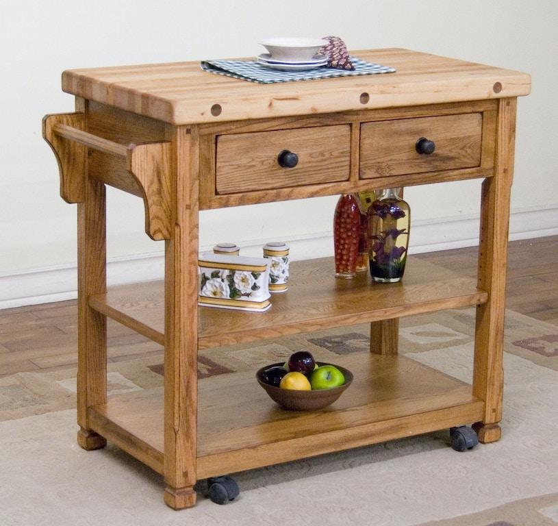 Sunny Designs Kitchen Sedona Butcher Block Cart 2178RO ...