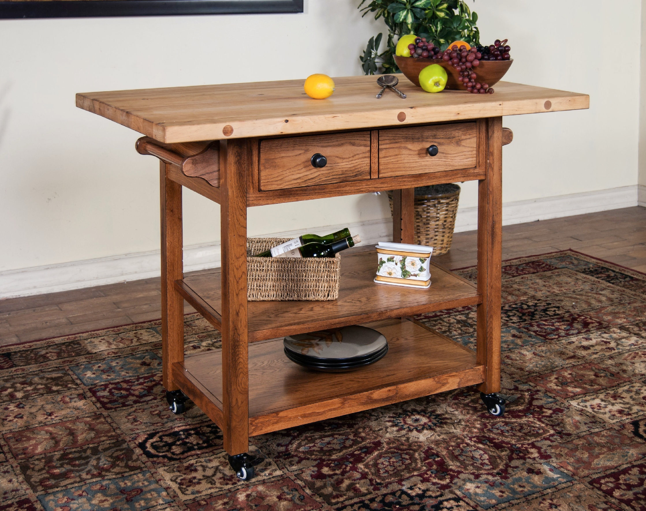 Sunny Designs Butcher Block Table With Drop Leaf 2238RO
