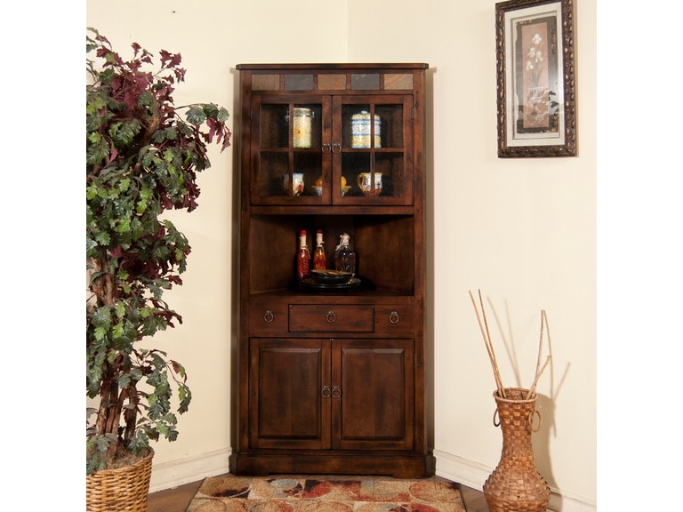 Sunny Designs Living Room Santa Fe Corner China Cabinet ...