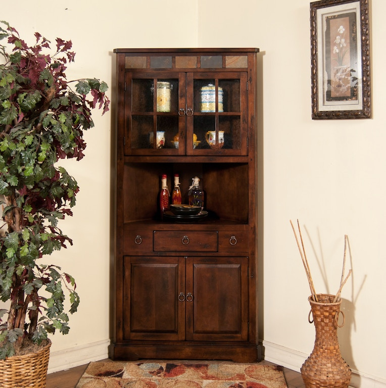 Sunny Designs Living Room Santa Fe Corner China Cabinet ...