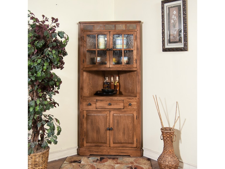 Sunny Designs Living Room Sedona Corner China Cabinet 2451RO - Joe ...