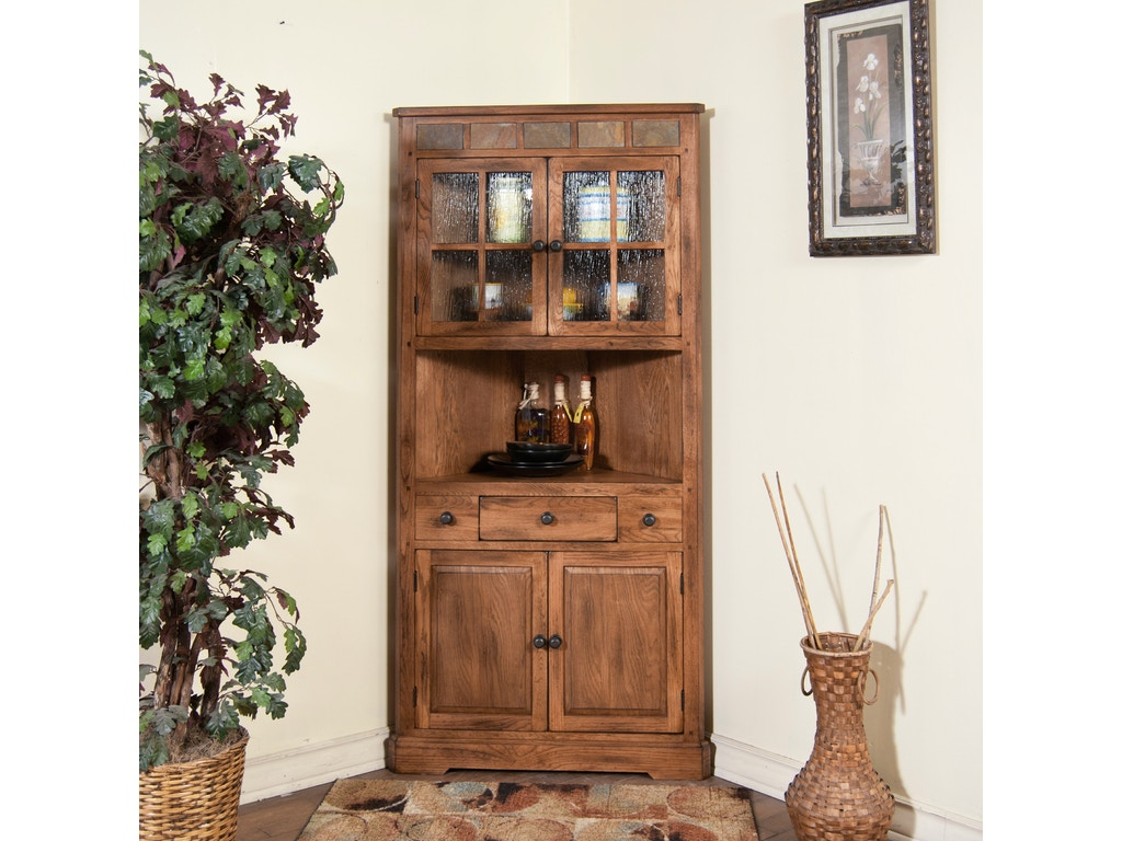 Sunny Designs Living Room Sedona Corner China Cabinet