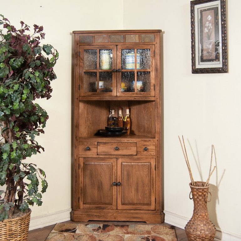 Sunny Designs Living Room Sedona Corner China Cabinet 2451RO ...