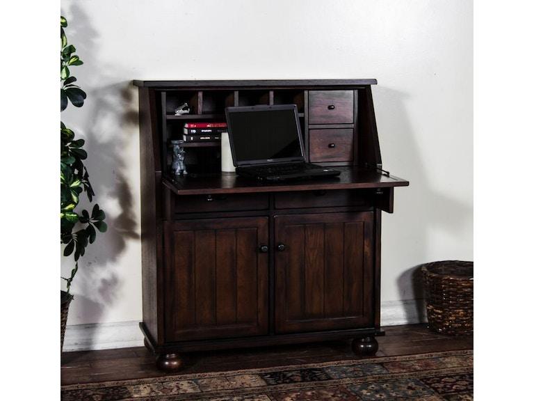 Aspenhome Warm Cherry Executive Modular Home Office: Sunny Designs Home Office Oxford Drop Leaf Lap Top Desk