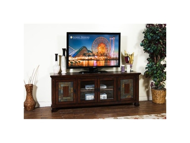 "Sunny Designs Dark Hazelnut 75"" TV Console 3445DH-TC"