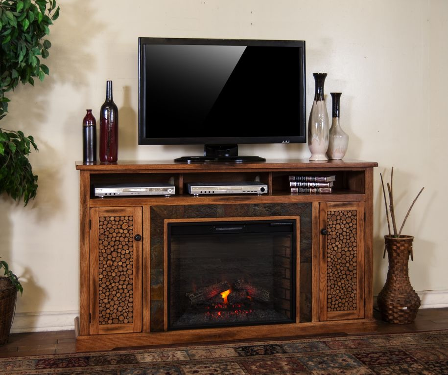 Sunny Designs Dining Room Sedona Fireplace TV Console 3489RO-66R ...