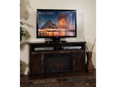 Sunny Designs Santa Fe Fire Place/TV Console 3490DC/FIRE