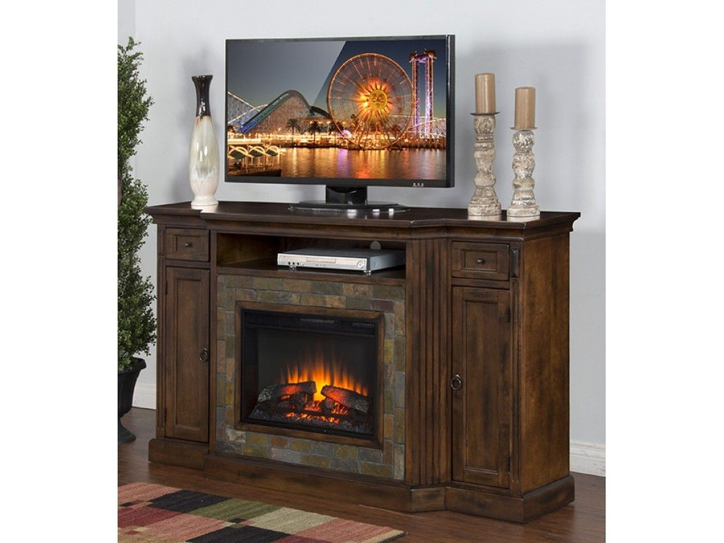 Sunny designs dining room santa fe fireplace console for Dining room fireplace ideas