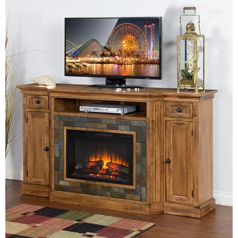 Sunny Designs Dining Room Sedona Fireplace Tv Console 3551ro