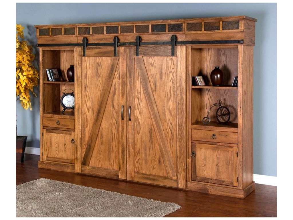 Sunny Designs Home Entertainment Sedona Barn Door Entertainment Wall 3574ro Seaside Furniture