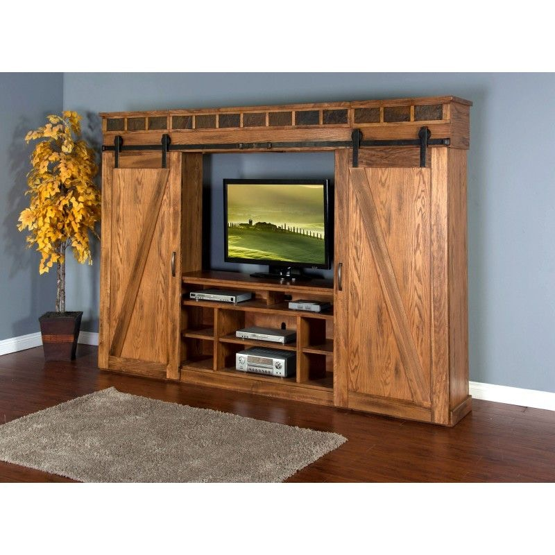 Beau Sunny Designs Sedona Barn Door Entertainment Wall 3574RO
