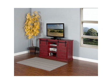 NEW ITEMS!!!   Burnt Red Barn Door TV Console 3577BR