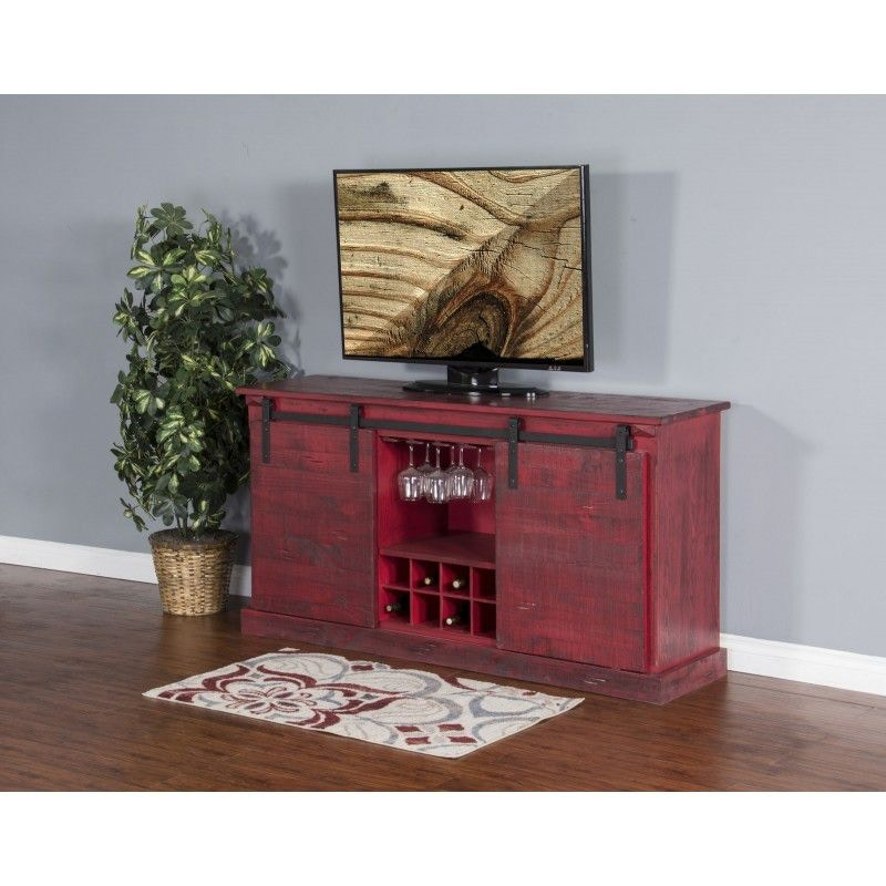 Sunny Designs Burnt Red Barn Door TV Console 3577BR B