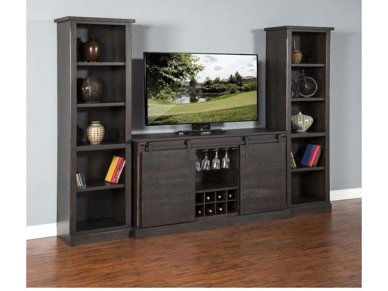 Sunny Designs Charred Oak Barn Door Tv Console