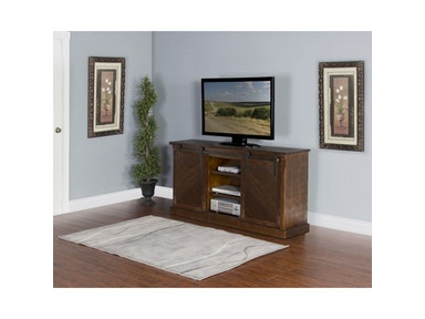 Dark Chocolate Slanted Panel Barn Door TV Console