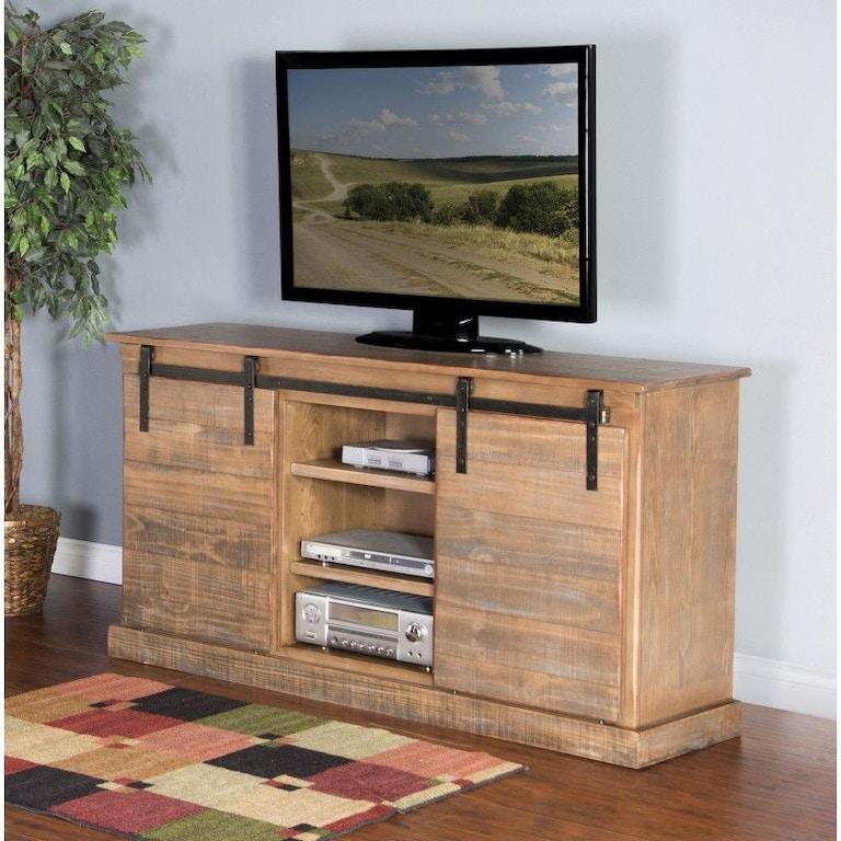 Sunny Designs Home Entertainment Driftwood Barn Door Tv