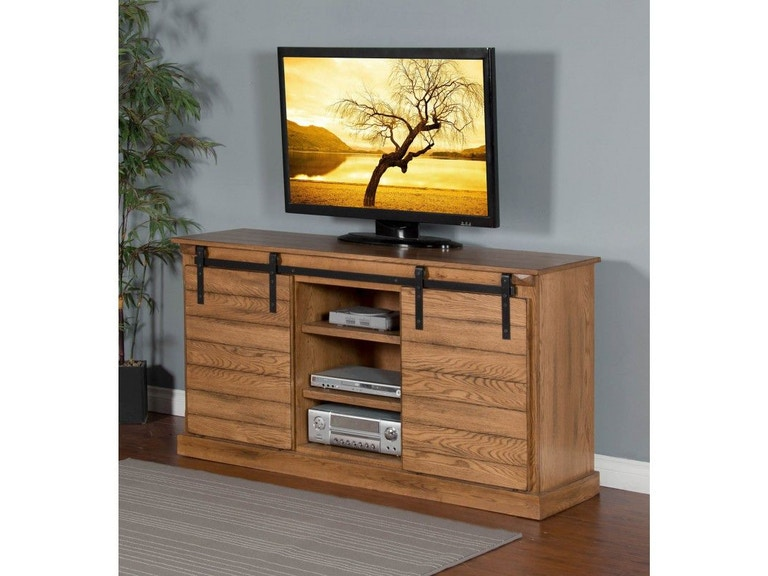 Sunny Designs Home Entertainment Rustic Oak Barn Door Tv Console