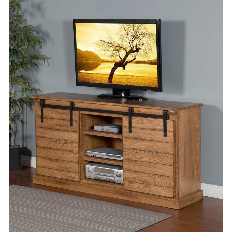 Rustic Oak Barn Door TV Console 3577RO
