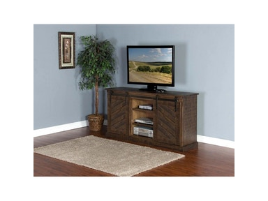 Tobacco Leaf Slanted Panel Barn Door TV Console