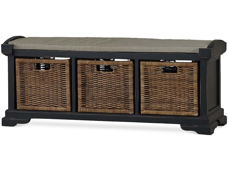 Bramble Living Room Homestead Bench With Rattan Baskets 23938