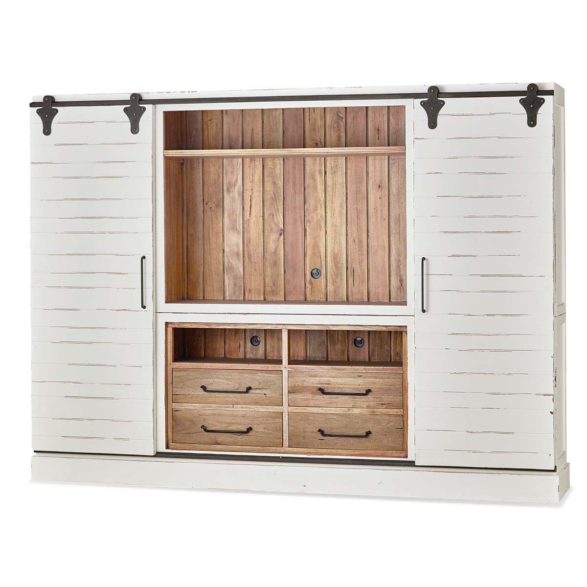 Gentil Bramble Sonoma Entertainment Cabinet With Sliding Doors 26569
