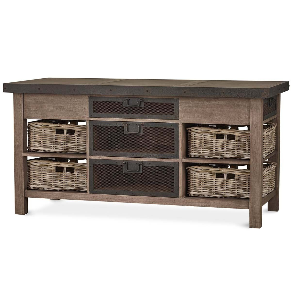 Bramble Harrington Kitchen Island With Baskets 26983
