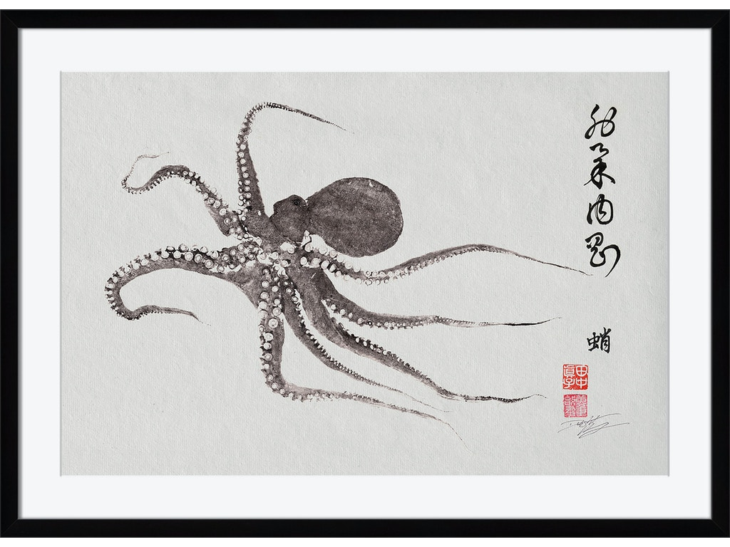 Surya Accessories Flying Octopus Calligraphy Wall Art