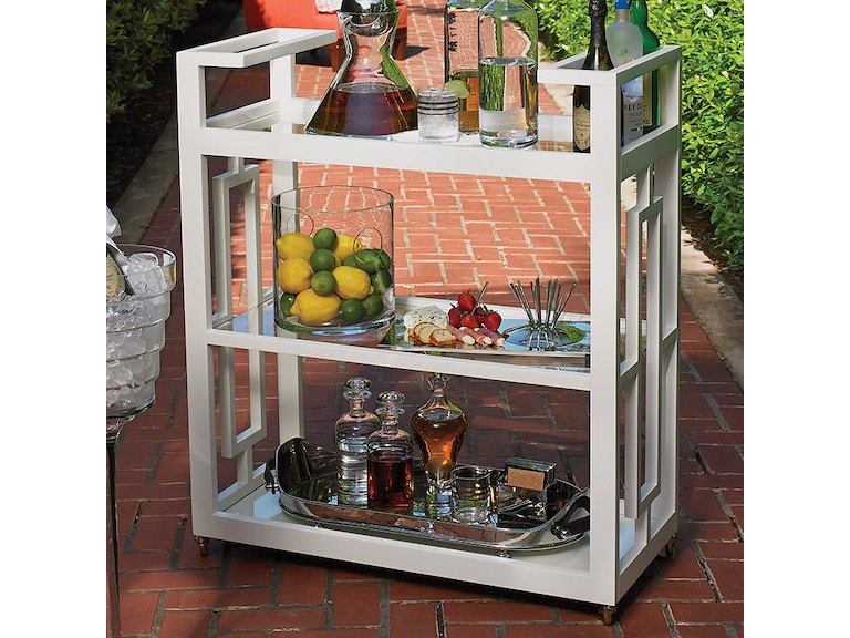 Global Views Bar And Game Room Grid Block Bar Cart White