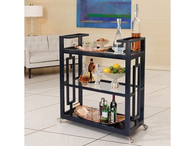 Global Views Grid Block Bar Cart-Ink 2492